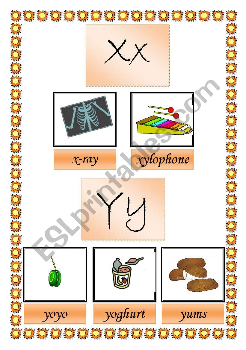 picture dictionary (x y z) 2 pages