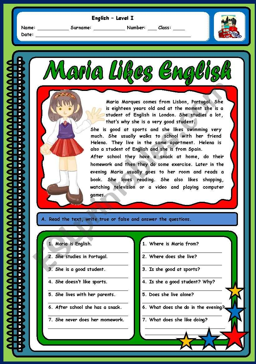 MARIA LIKES ENGLISH (ROUTINES AND LIKES/DISLIKES - 2 PAGES)