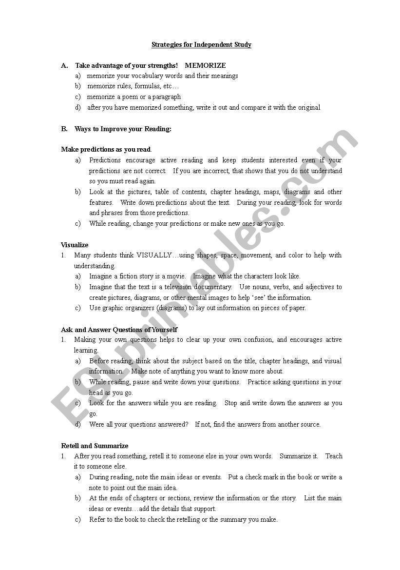 Independent Study Strategies worksheet