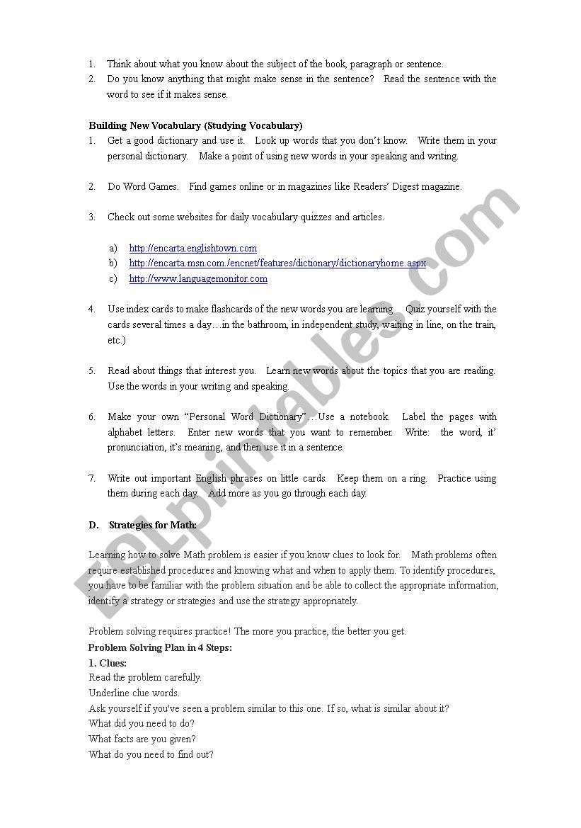Independent Study Strategies - ESL worksheet by walrusette