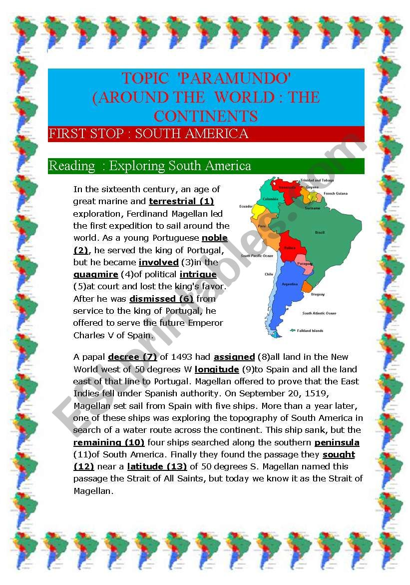 Around the world : the continents South-America (10 pages)