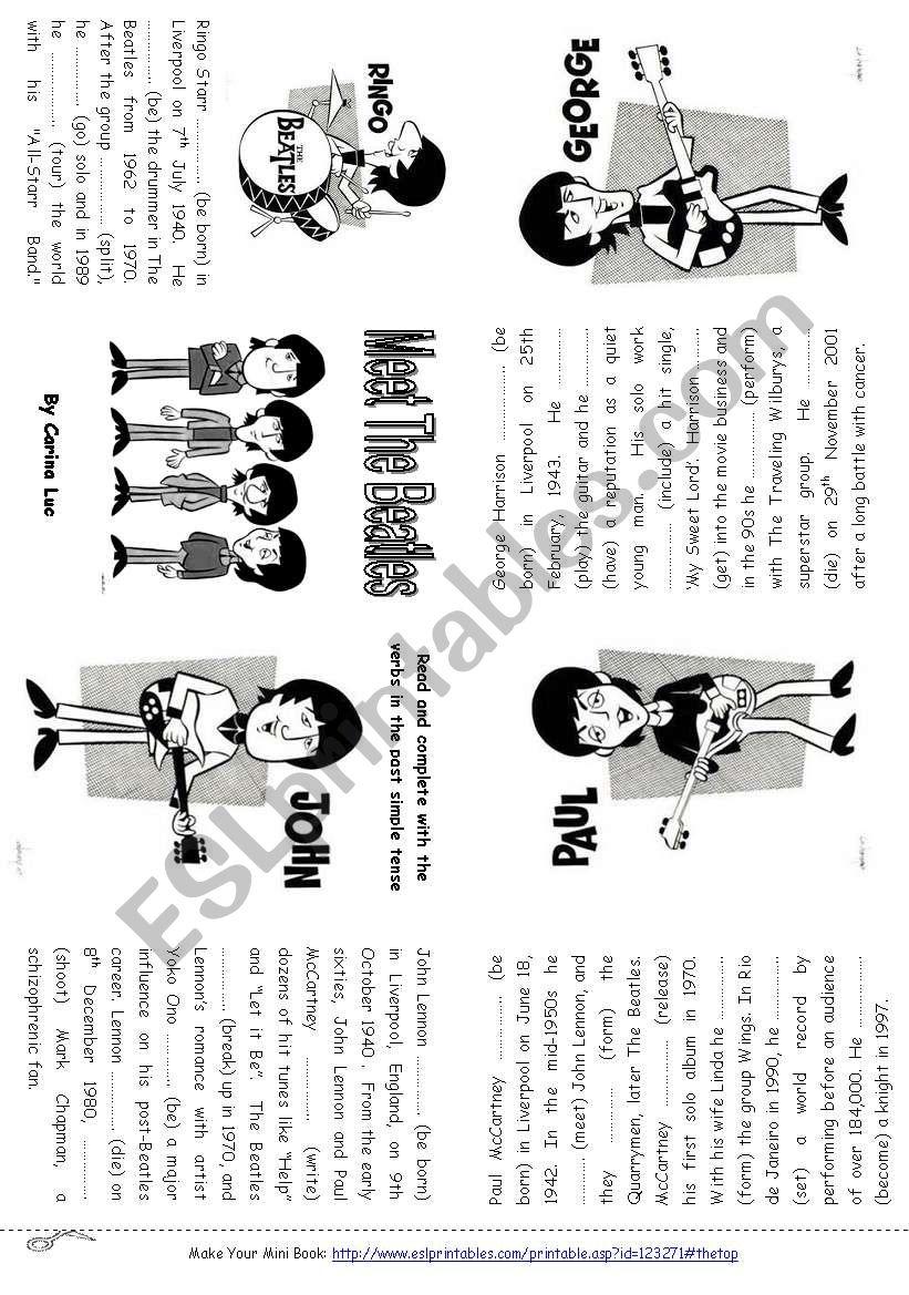 Meet The Beatles  Minibook - Simple Past Tense