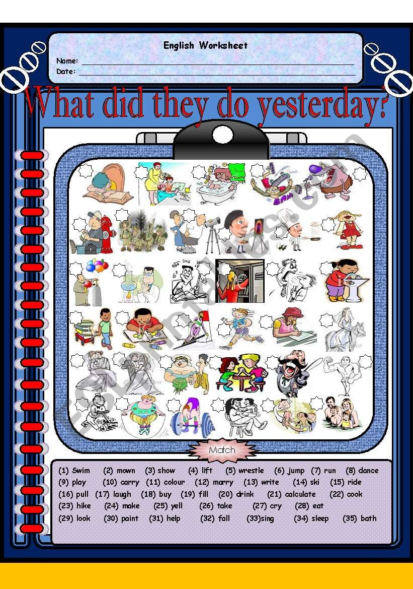 What did they do yesterday?  (Past Simple Tense) Two pages
