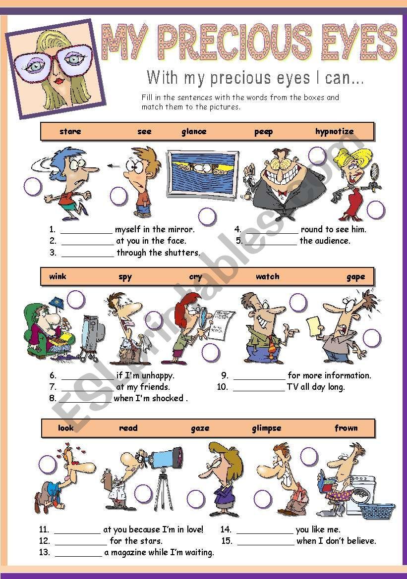 MY PRECIOUS EYES worksheet