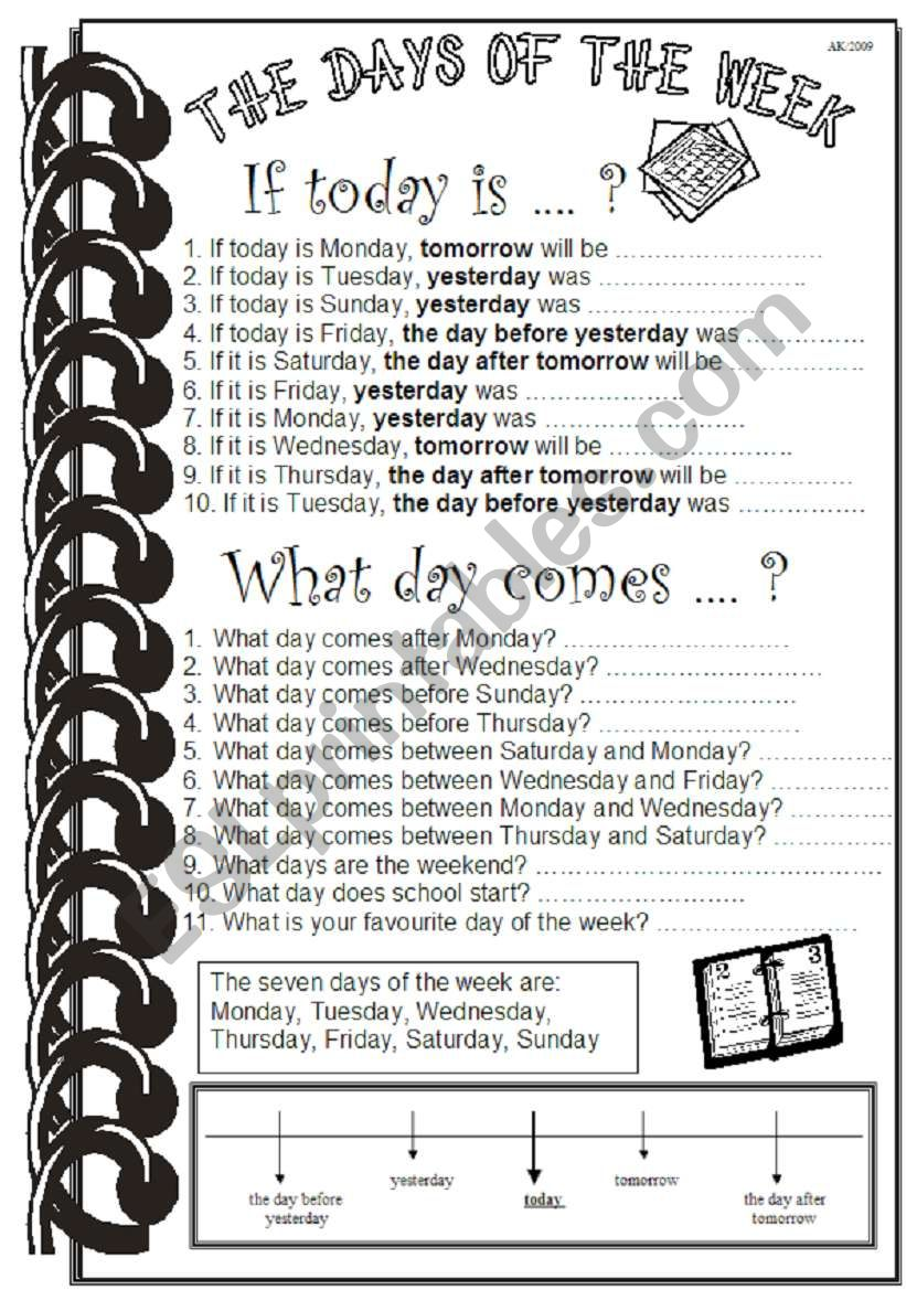 The Days of the Week worksheet