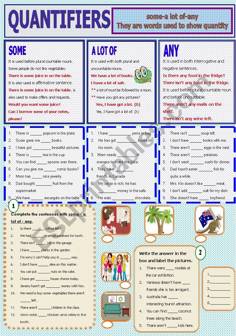 Quantifiers - some-a lot of -any