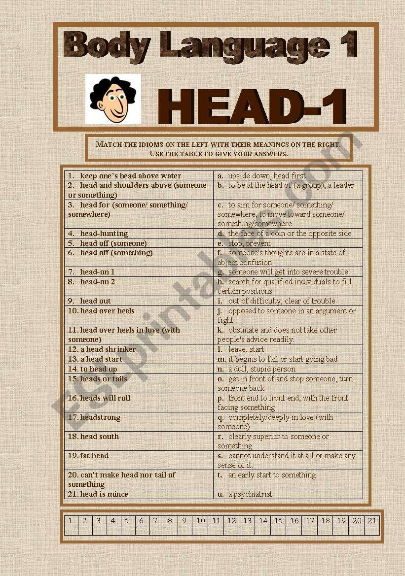 Body Language worksheet