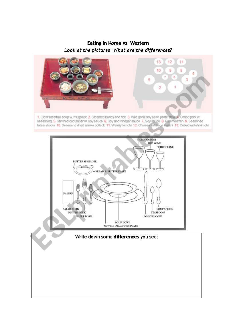 Korea table setting  worksheet