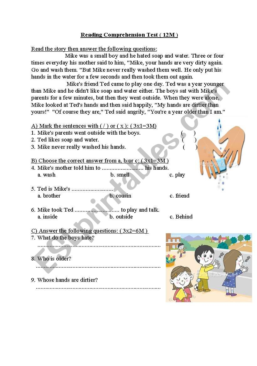 Dirty Hands worksheet