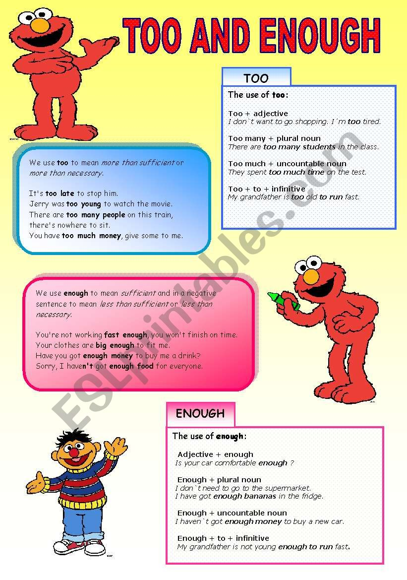 Let´s learn too&enough with the Sesame Street Characters ( 2 pages)