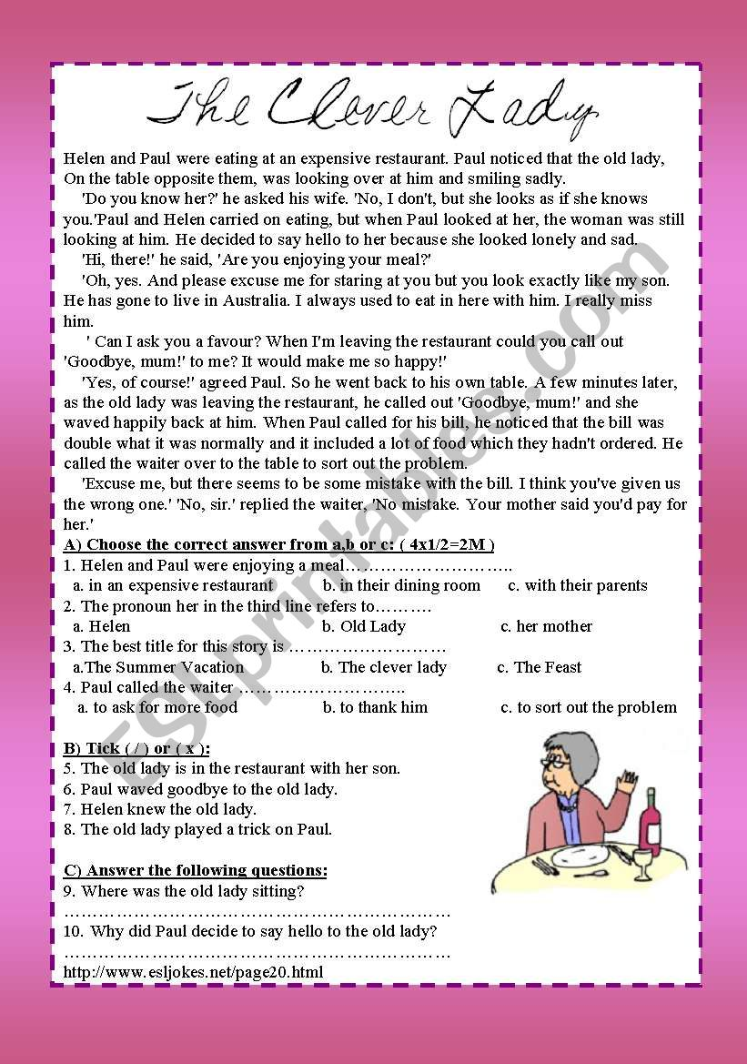 The old lady worksheet