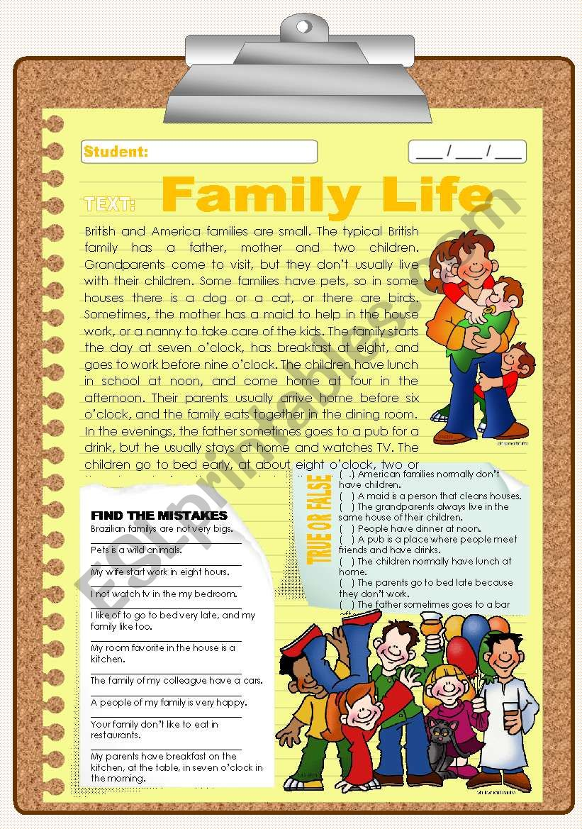 SIMPLE PRESENT - Family Life (with practive)