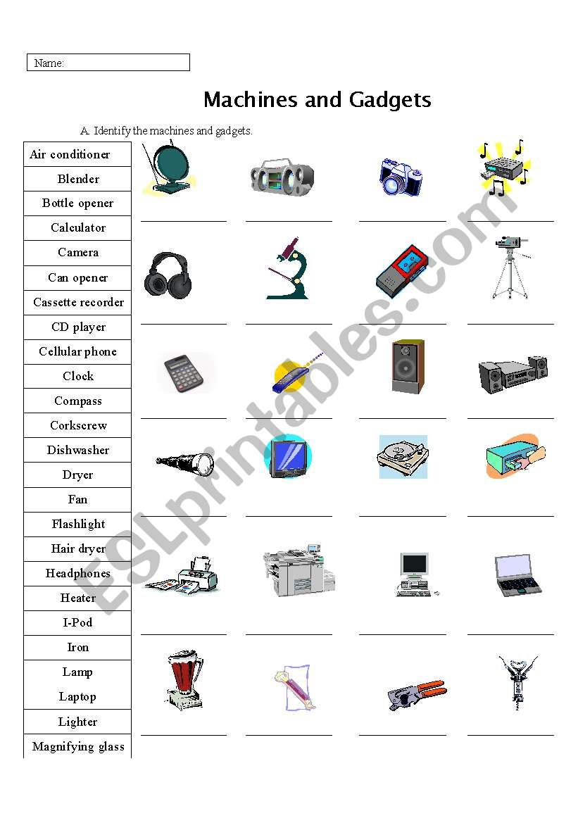 Machine, Appliances, and Gadget Identification Practice (Page 1)