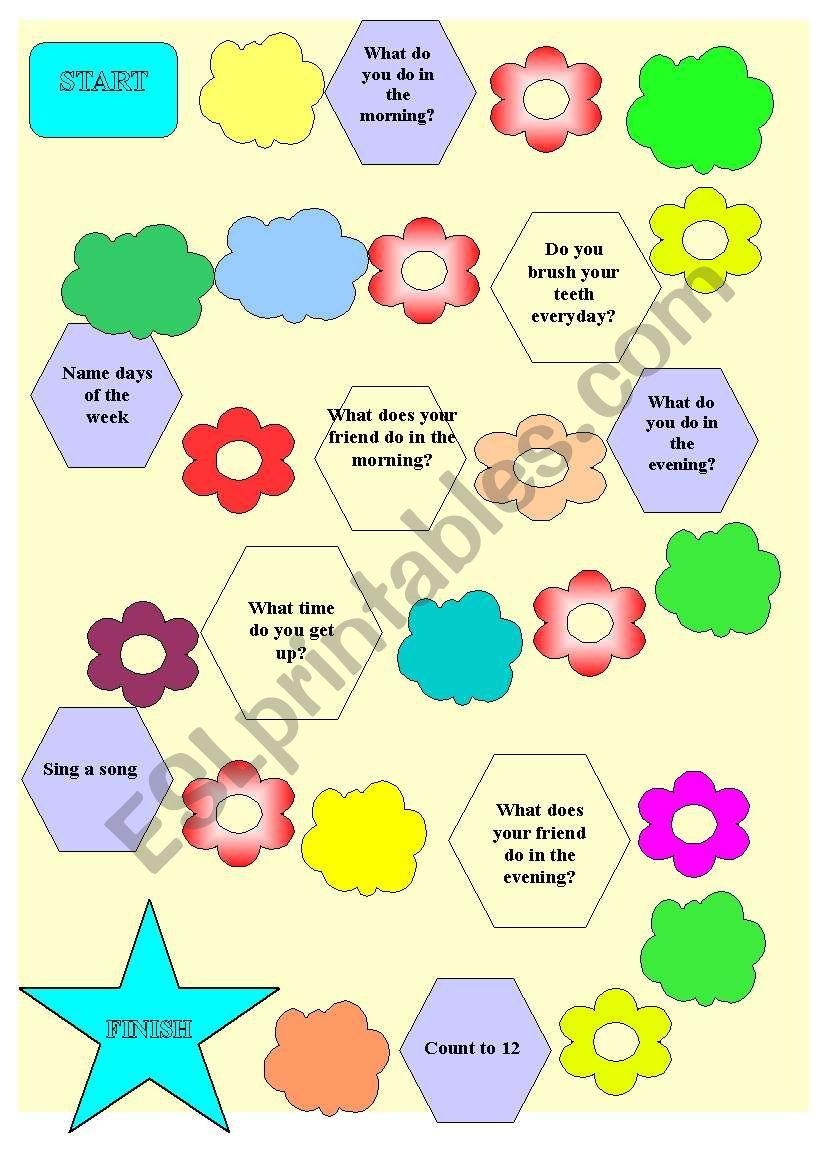 Present Simple board game worksheet
