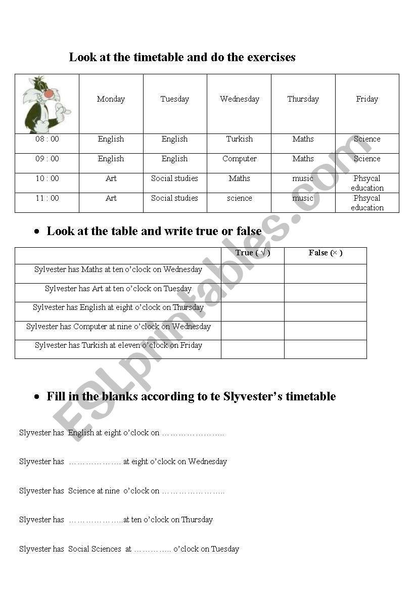 timetables worksheet
