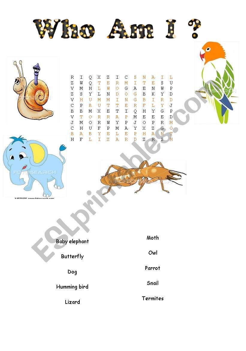 word search worksheet