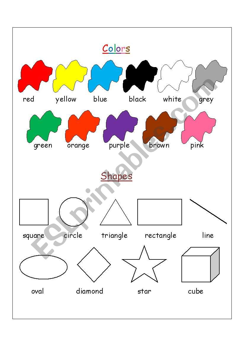 colors shapes esl worksheet by asrarmh. Black Bedroom Furniture Sets. Home Design Ideas