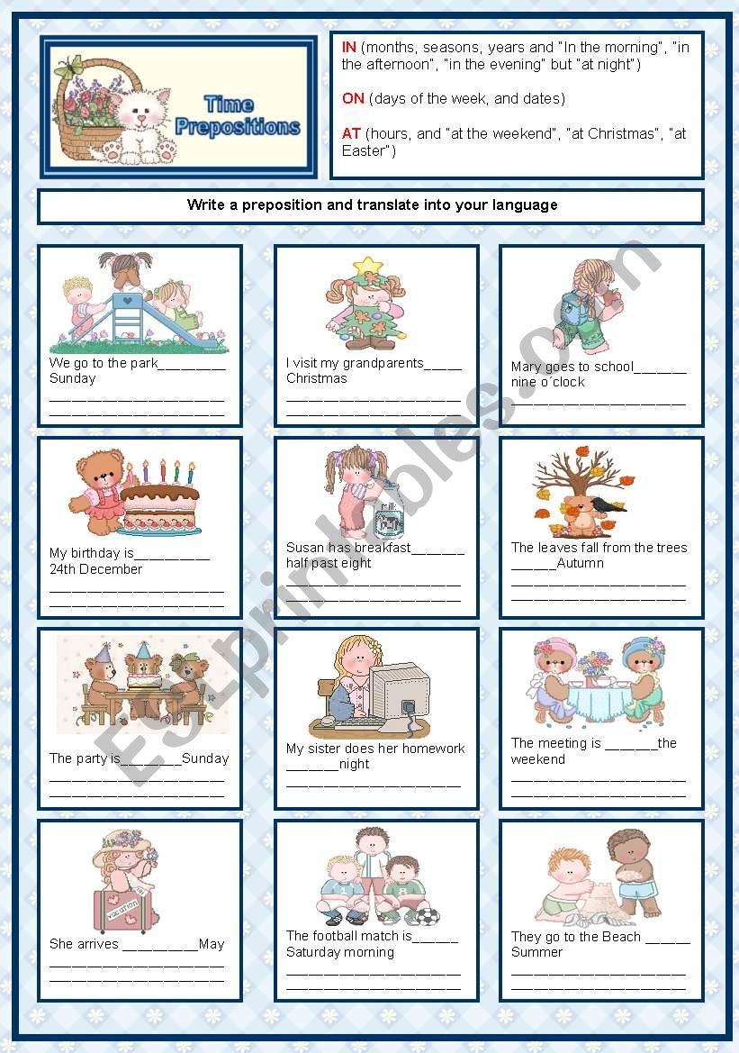 Time  prepositions worksheet