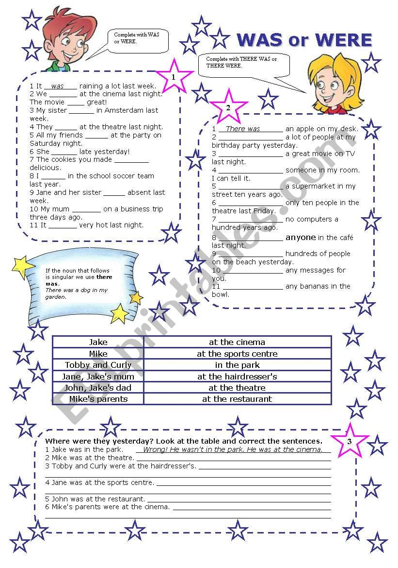 WAS or WERE (2 PAGES) worksheet