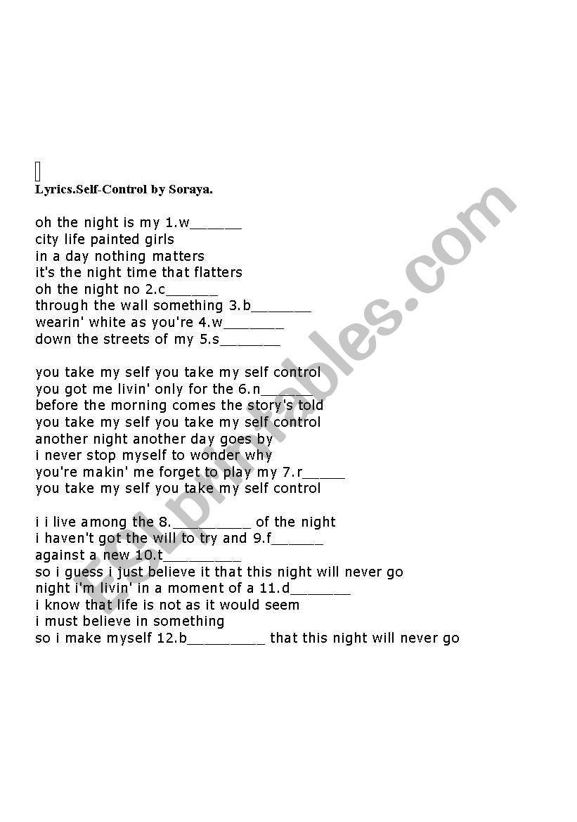 English Worksheets Songself Control