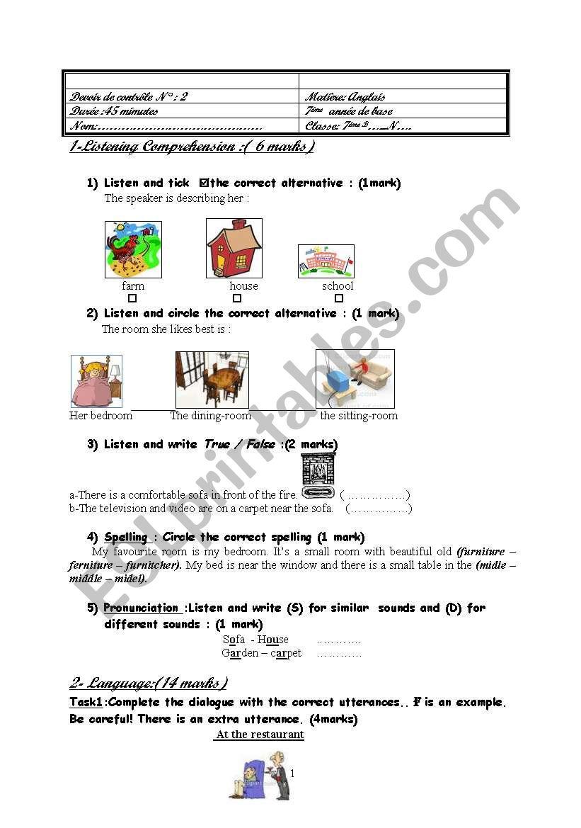 mid term test2 (7th form) worksheet