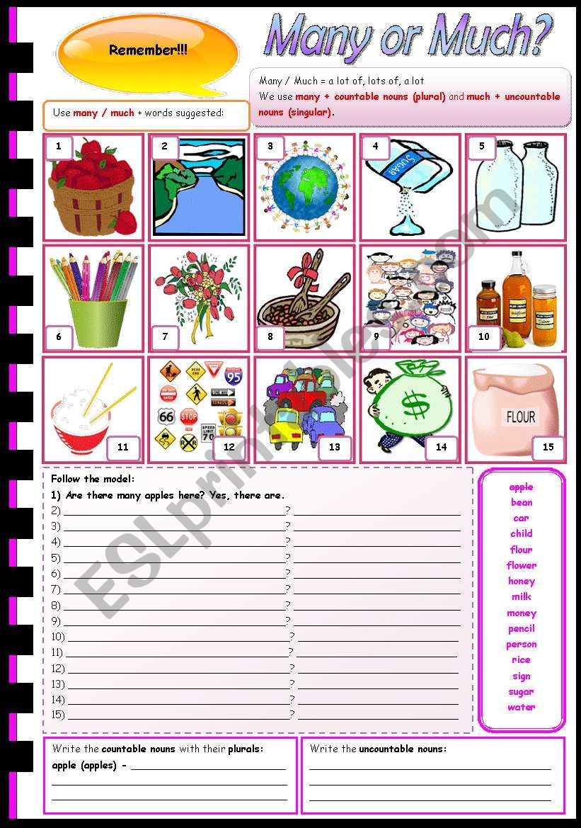 Many or much? - plurals - countable + uncountable - there is + there are - explanation + exercises (fully editable)