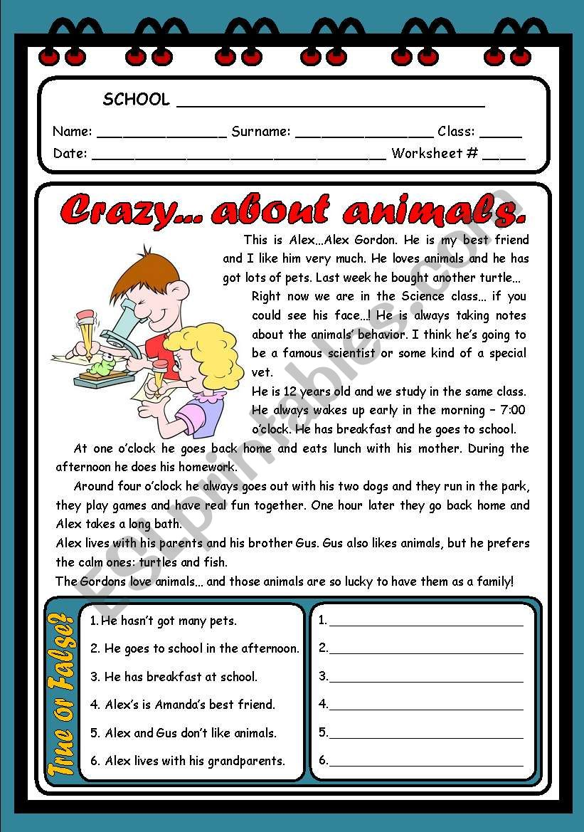 CRAZY... ABOUT ANIMALS ( 2 PAGES )
