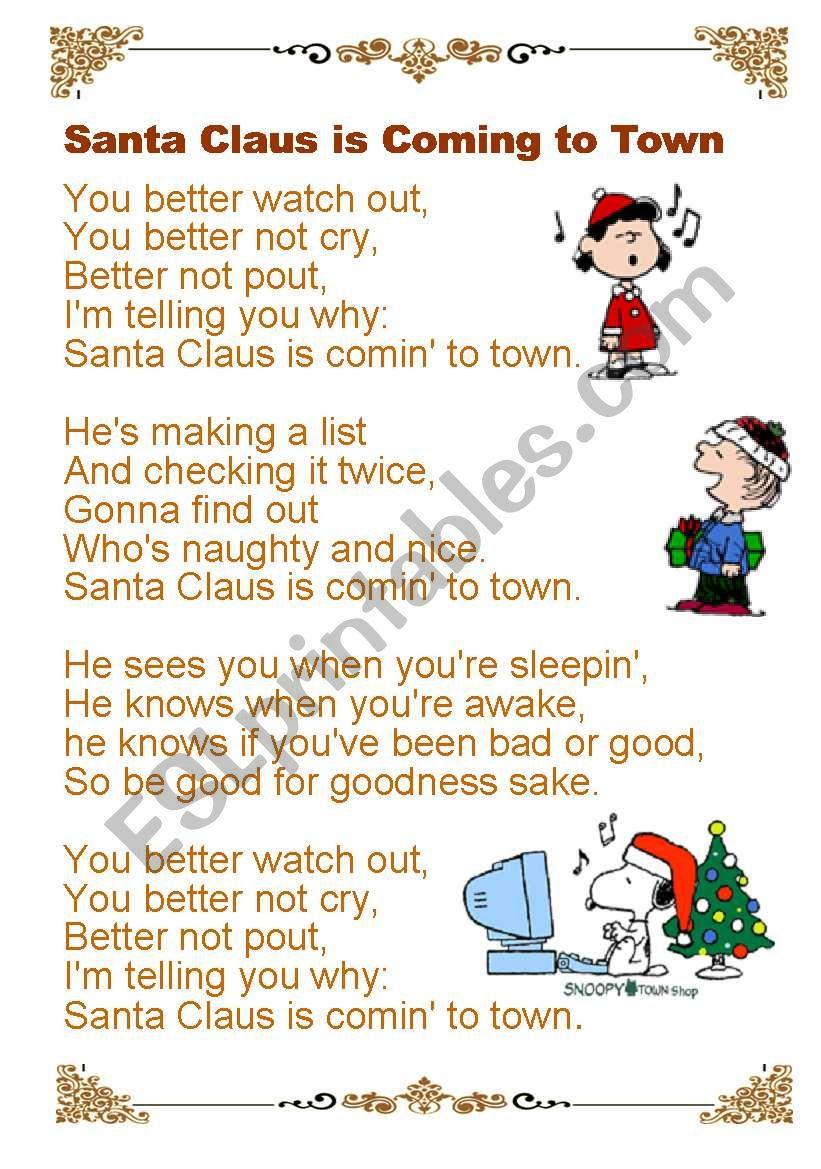 Santa Claus is coming to town worksheet