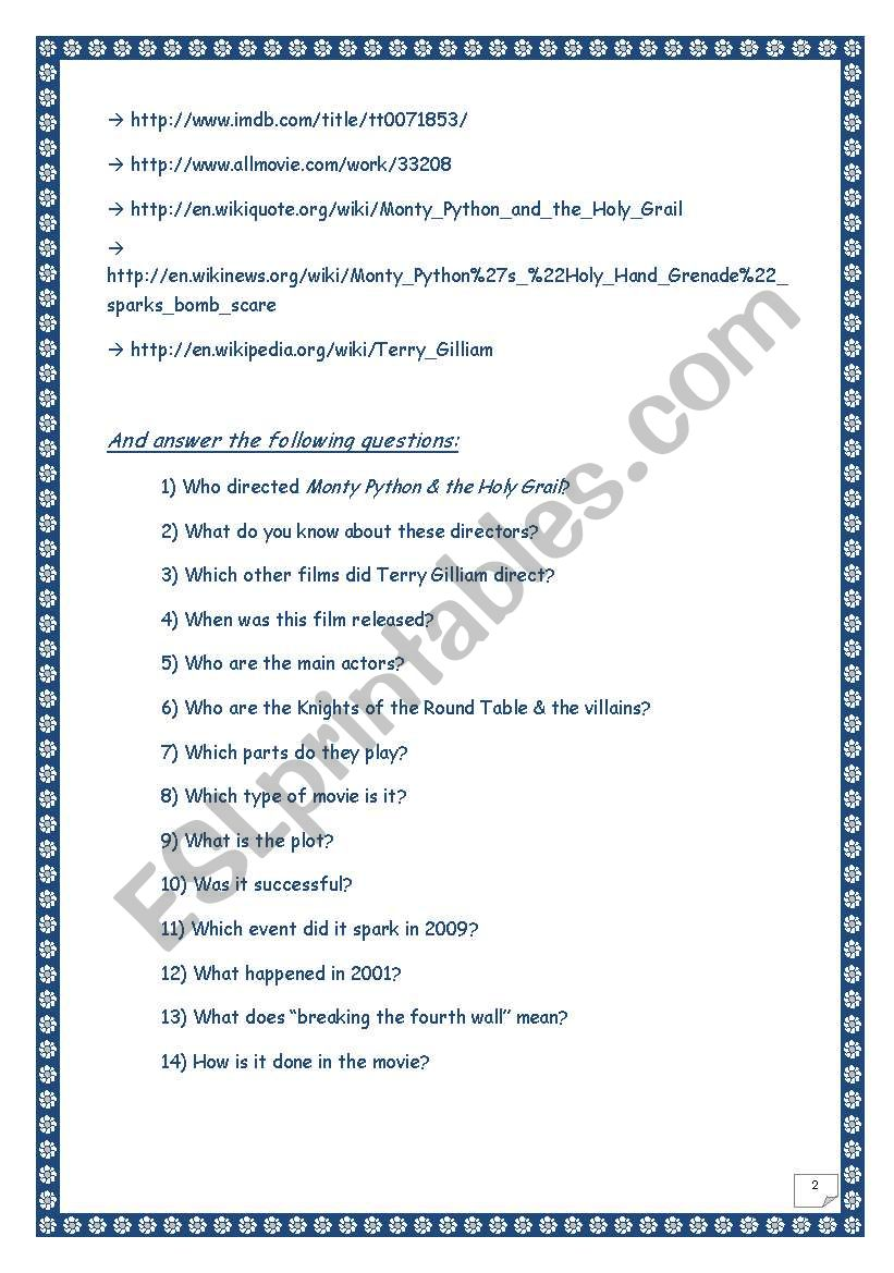 Monty Python & the Holy grail WEBQUEST (10 pages, 14 tasks