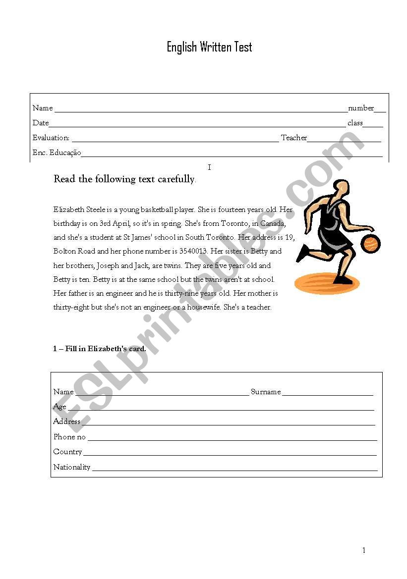 written test worksheet