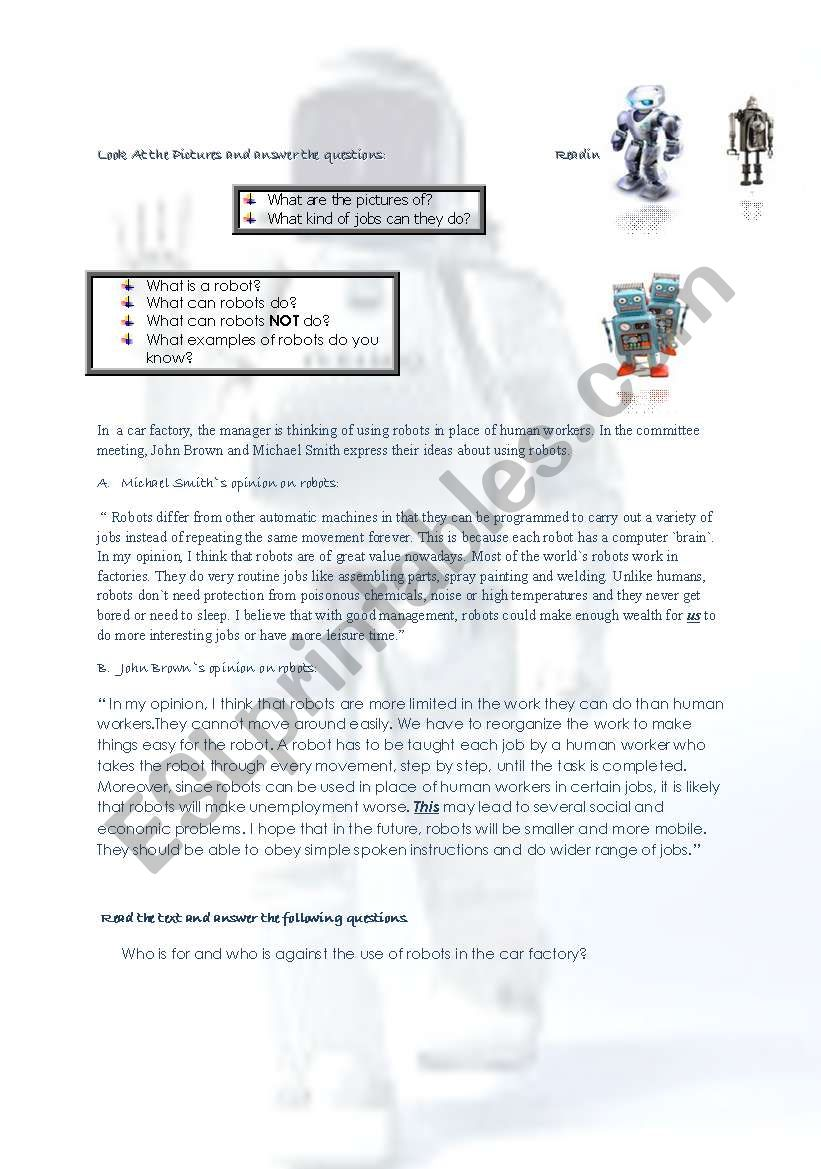 robots worksheet