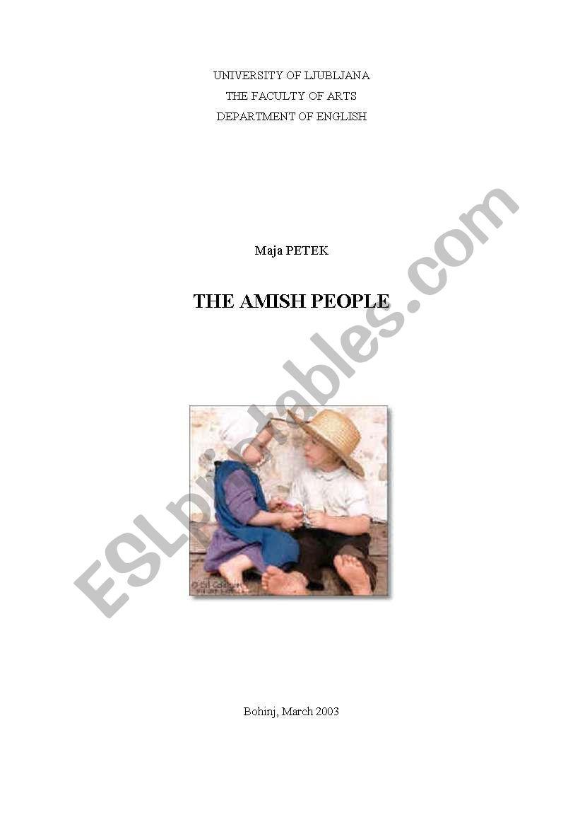 The Amish People worksheet