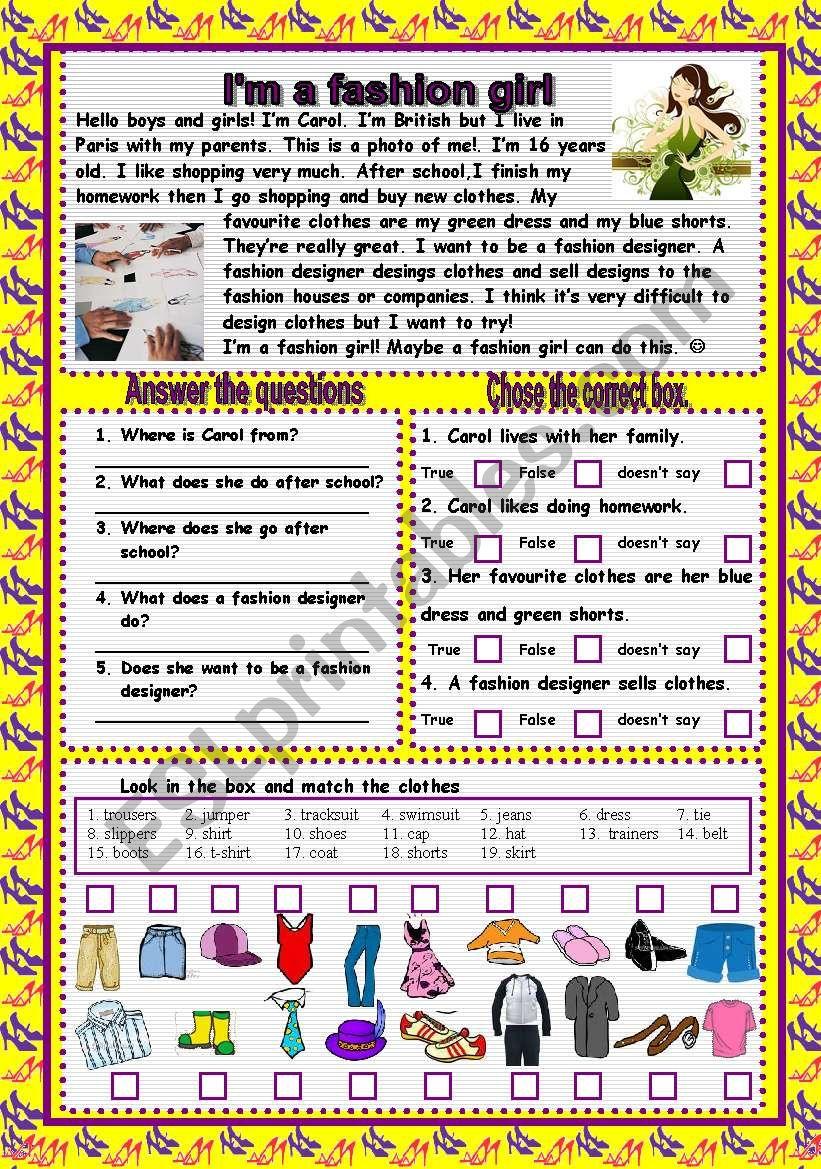 FASHION GIRL worksheet