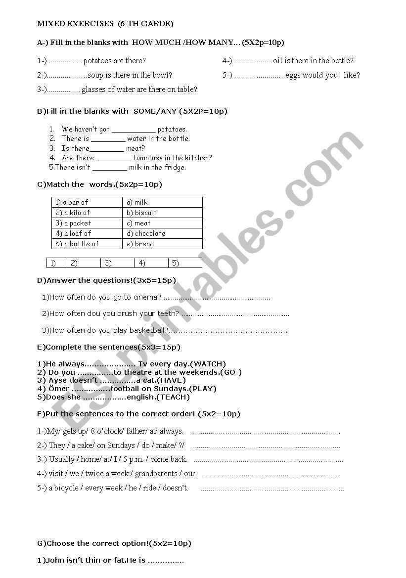 MÝXED EXERCISES 6 TH GRADE worksheet