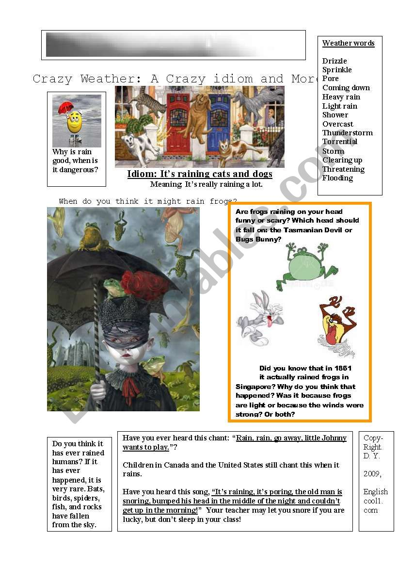 Raining Cats and Dogs Plus worksheet