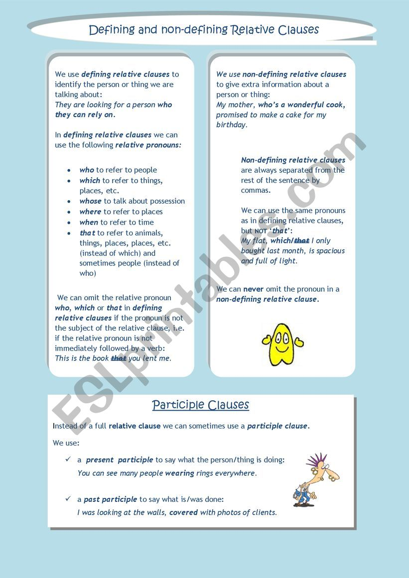 Relative and Participle Clauses