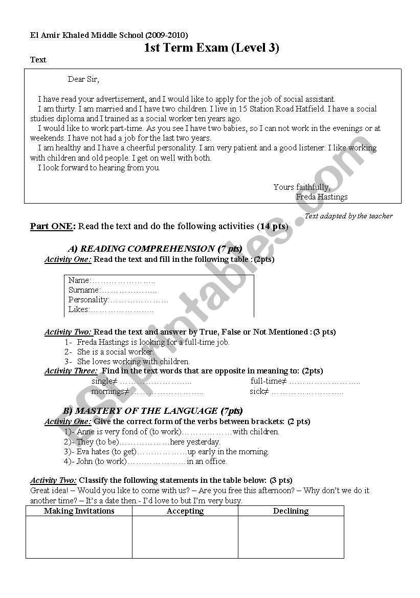1st Term Exam (level 3 - Middle School)