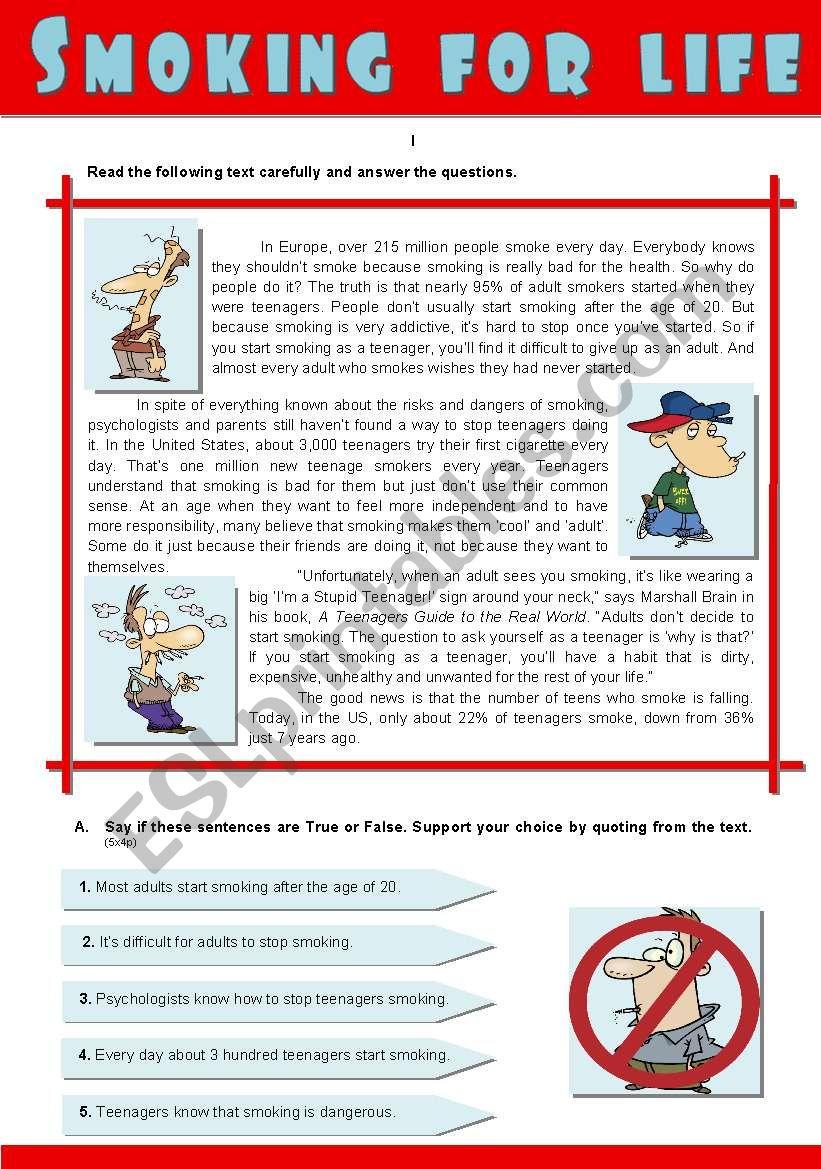 SMOKING FOR LIFE worksheet