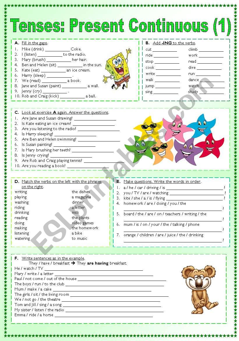 Working with tenses - Present Continuous (1) - ESL worksheet ...