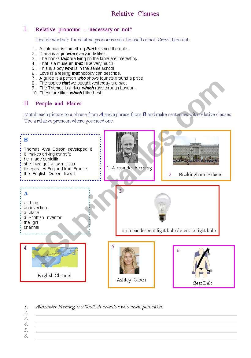 Relative Clause Exercises worksheet