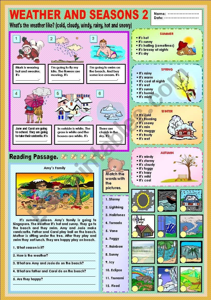 Weather and seasons 2 worksheet