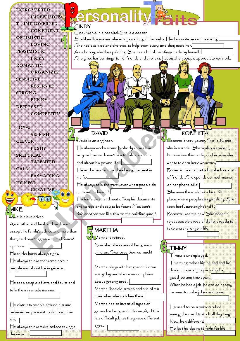 Personality traits worksheet
