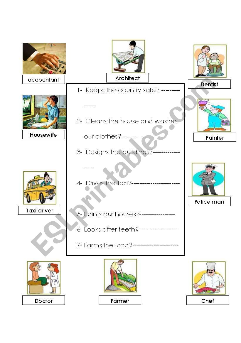Jobs and professions worksheet