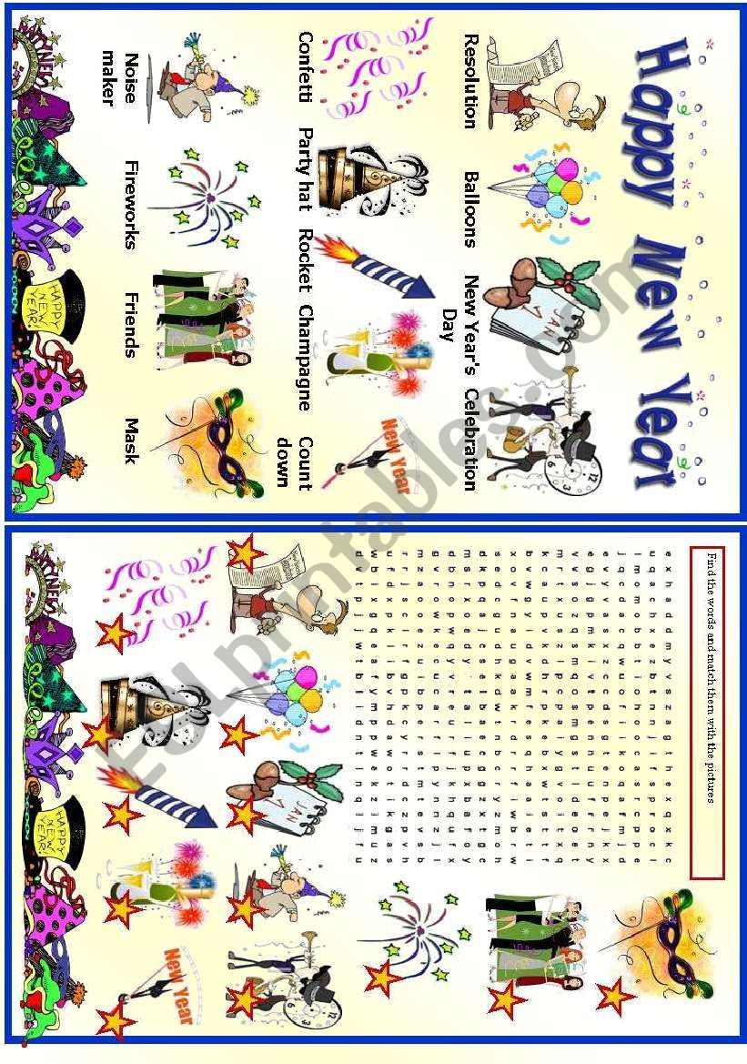 New Year - Vocabulary - ESL worksheet by vanda51
