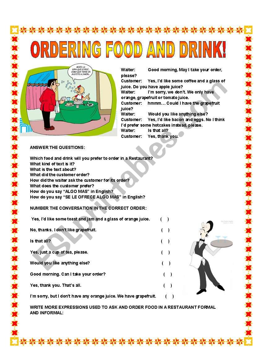 Ordering food and drink! worksheet