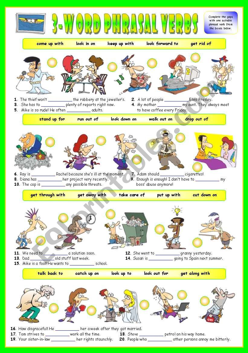 First series of 3-Word Phrasal Verbs. Exercises (Part 2/3). Key included!!!
