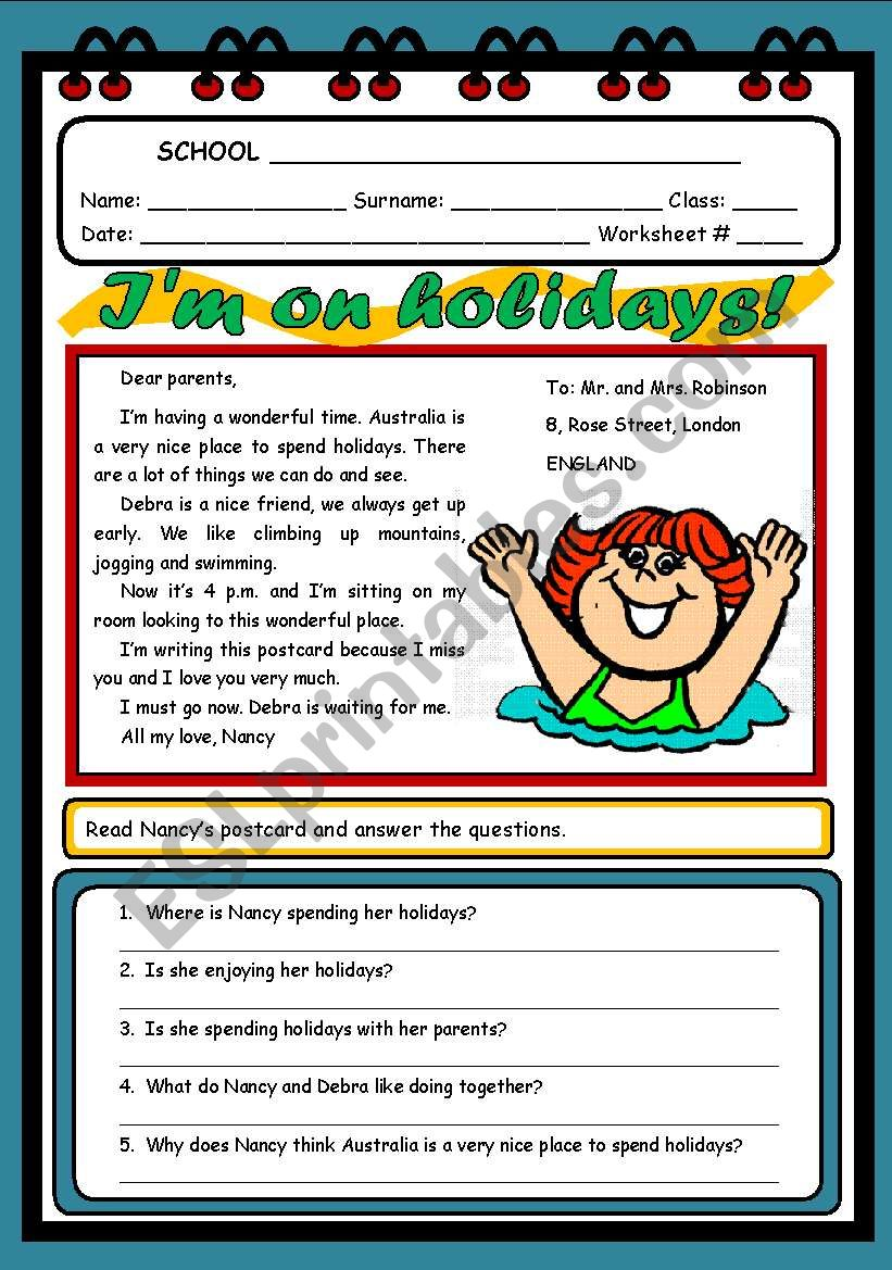 I´M ON HOLIDAYS! worksheet