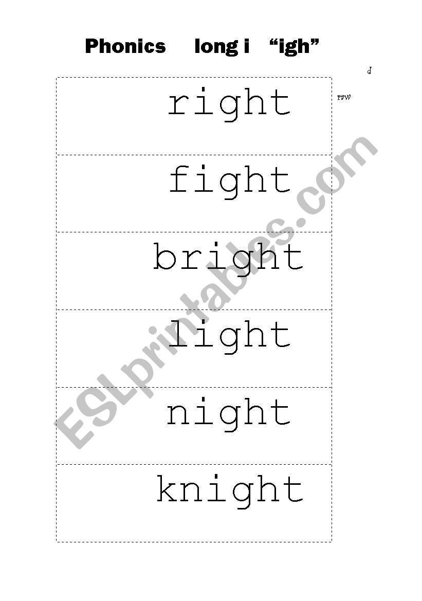 english worksheets  phonics long i  u0026quot igh u0026quot