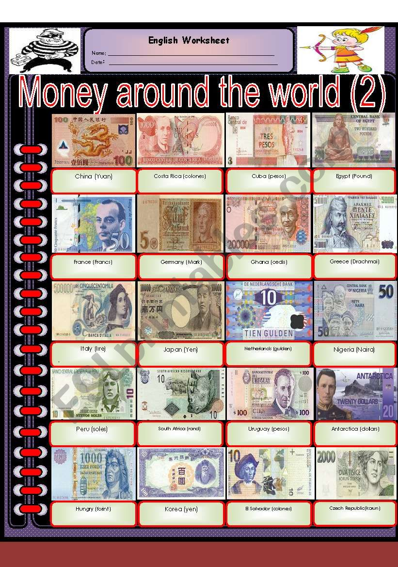 Money around the world (part 2) - ESL worksheet by tareq
