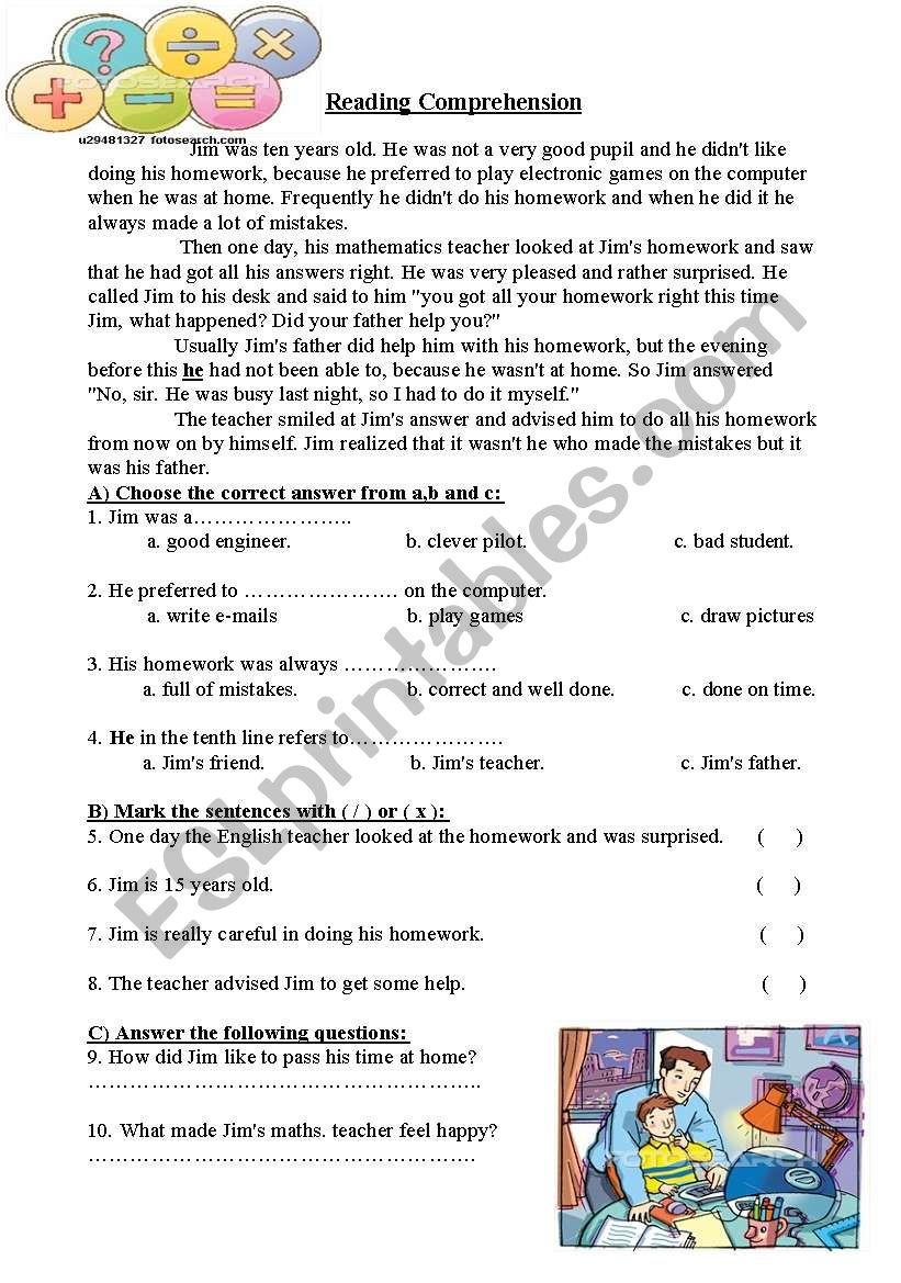 Jim´s Homework worksheet